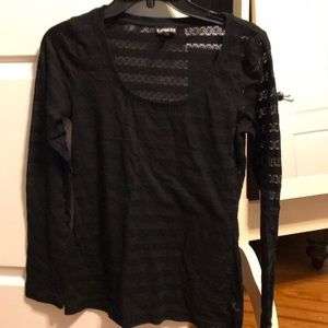 Express black long sleeve lace top